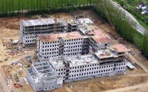 Budowa budynku Sądu i Prokuratury Rejonowej w Białystoku - szalunki - zdjęcie z drona