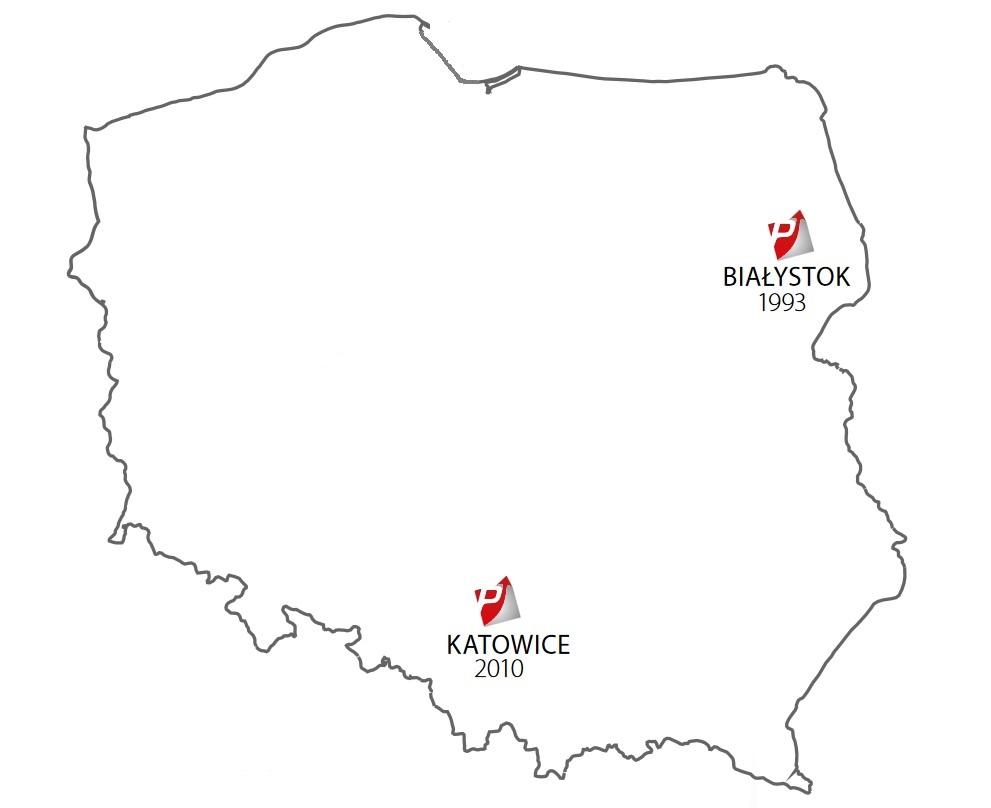 mapa 2010 - utworzenie oddziału południe z magazynem w katowicach