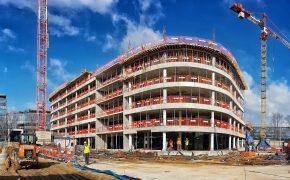 Budowa biurowca DSV Office w Warszawie - szalunki