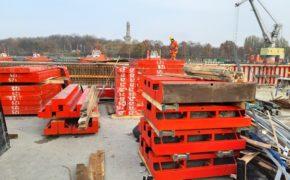 Budowa Nabrzeża Oliwskiego - szalunki